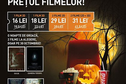 Reduceri de Halloween la prețul biletelor la film, la Cinema City
